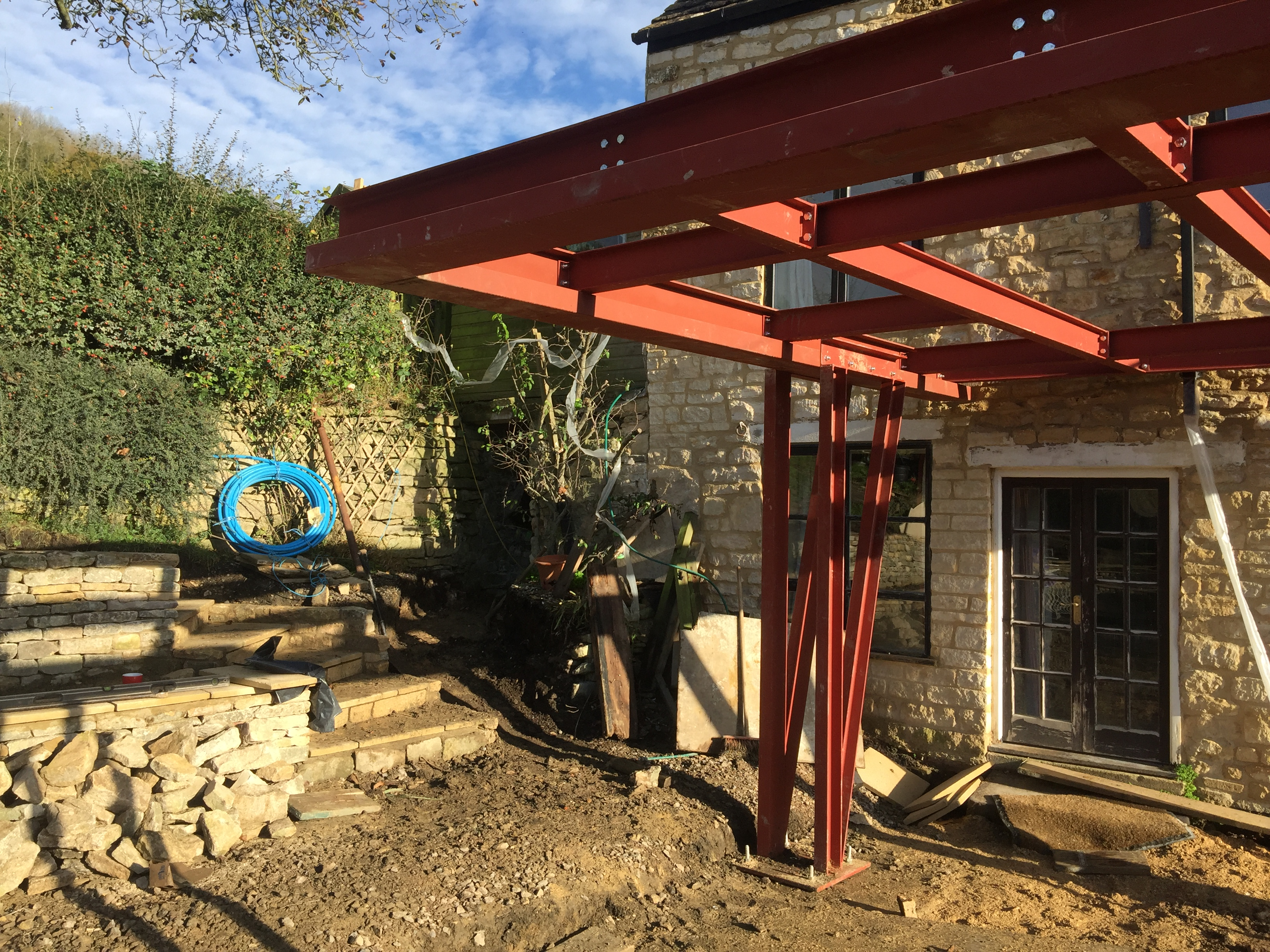 Steelwork frame goes up on Cotswold extension | George King Architects